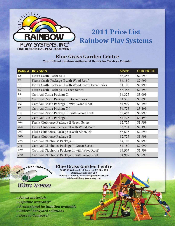 Blue Grass Nursery And Garden Centre 2011 Rainbow Price List By