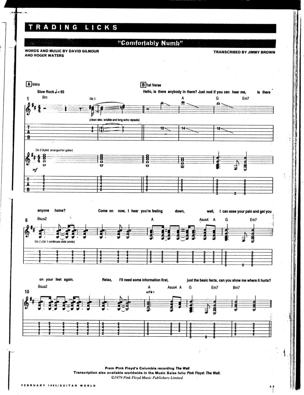 Comfortably Numb Tab Pink Floyd By Brad Matthews Issuu