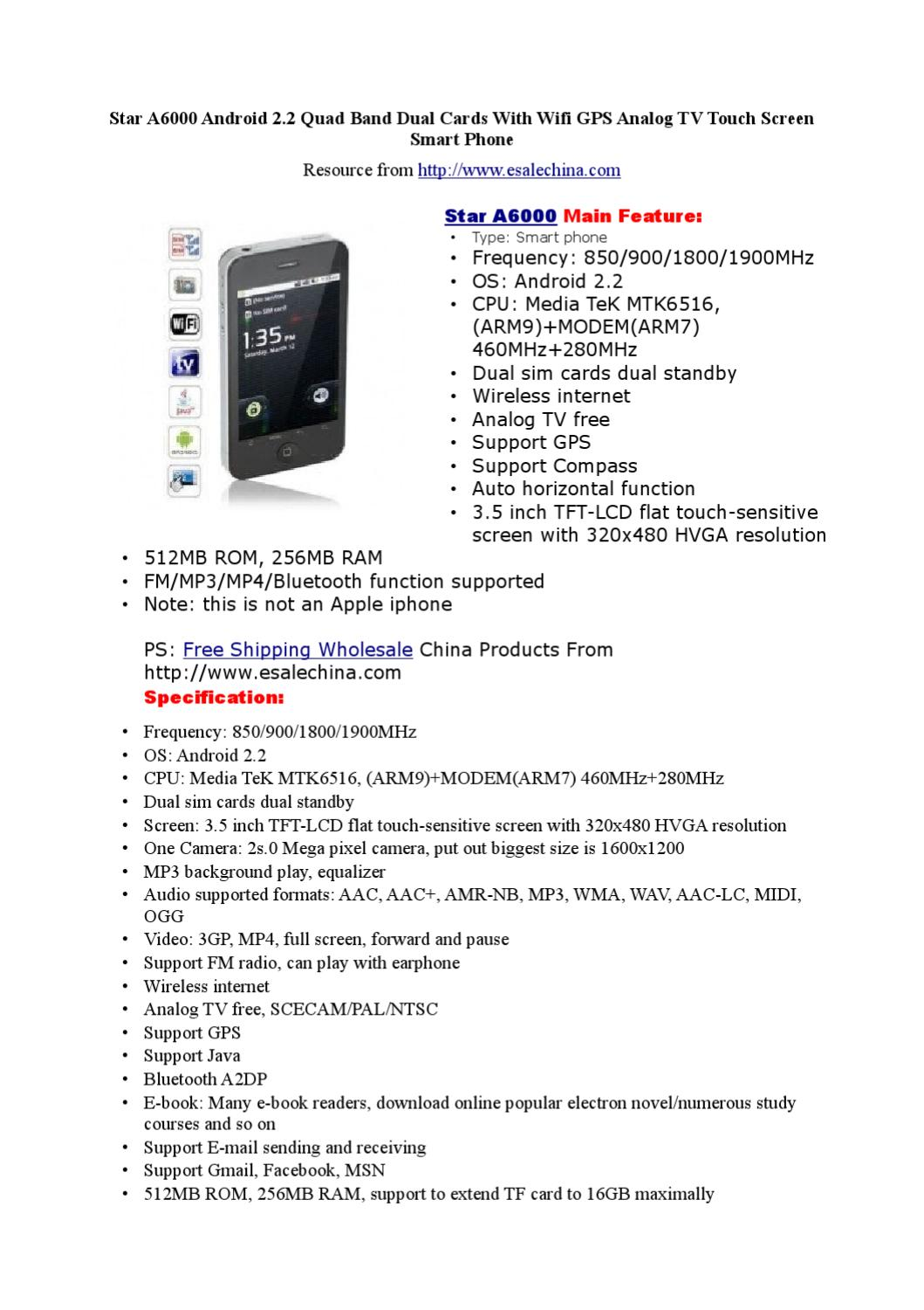 Star A6000 Android 2 2 Quad Band Dual Cards With Wifi GPS Analog TV Touch  Screen Smart Phone