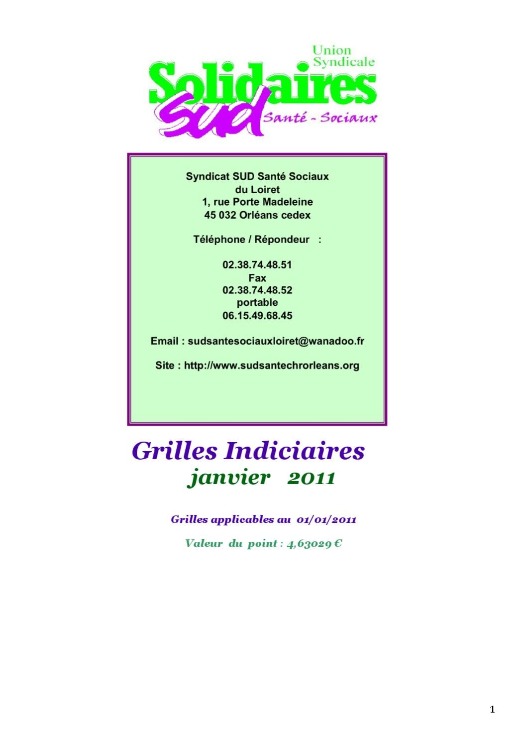Grilles indiciaires fph sud sante by quinet greg issuu - Grille salaire adjoint administratif 1ere classe ...