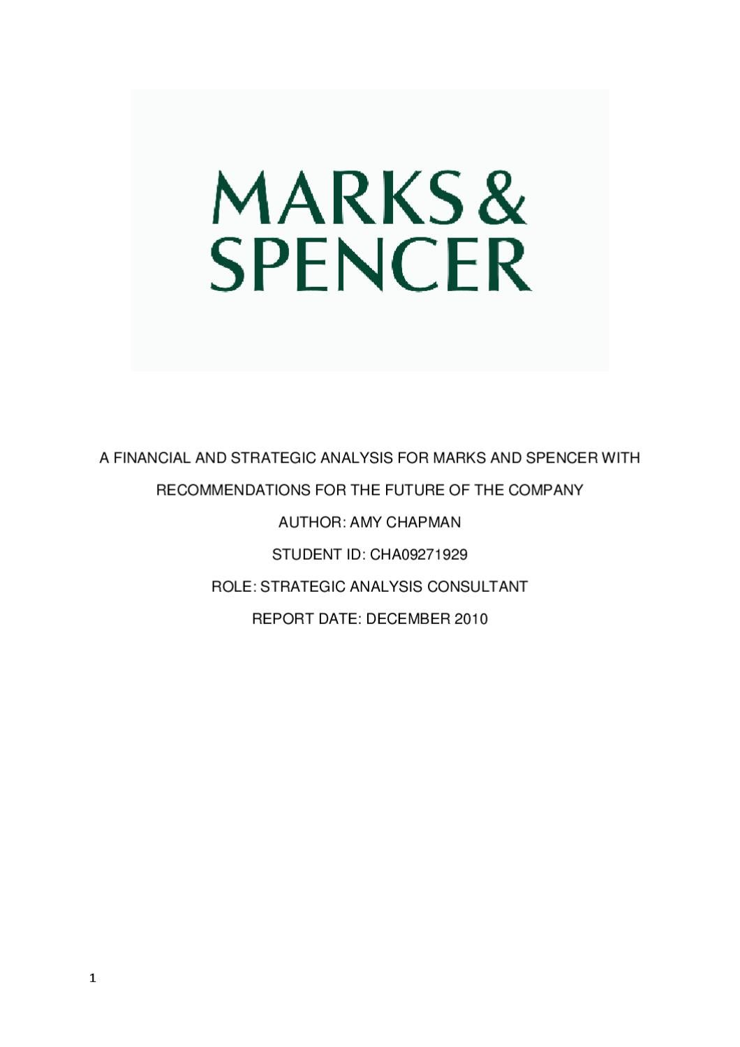 a company analysis of marks and spencer
