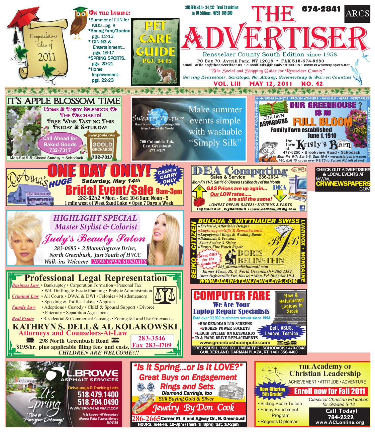 f6a46c3a4872 Advertiser South 051211 by Capital Region Weekly Newspapers - issuu