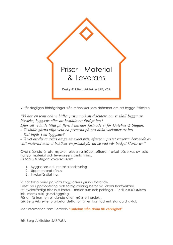 Priser - Material & Leveransbeskrivning - Erik Berg Arkitekter by ...