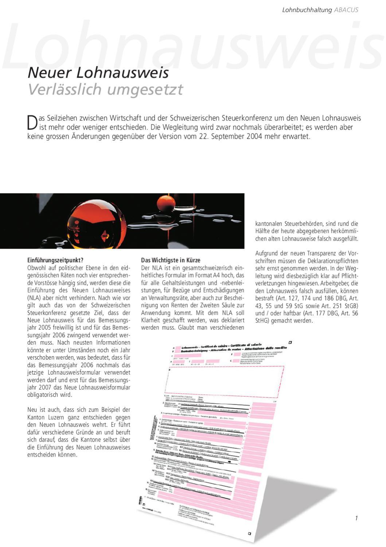 Neuer Lohnausweis - Verlässlich umgesetzt by ABACUS Research AG - issuu