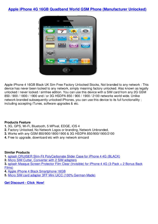 Apple iPhone 4G 16GB Quadband World GSM Phone (Manufacturer