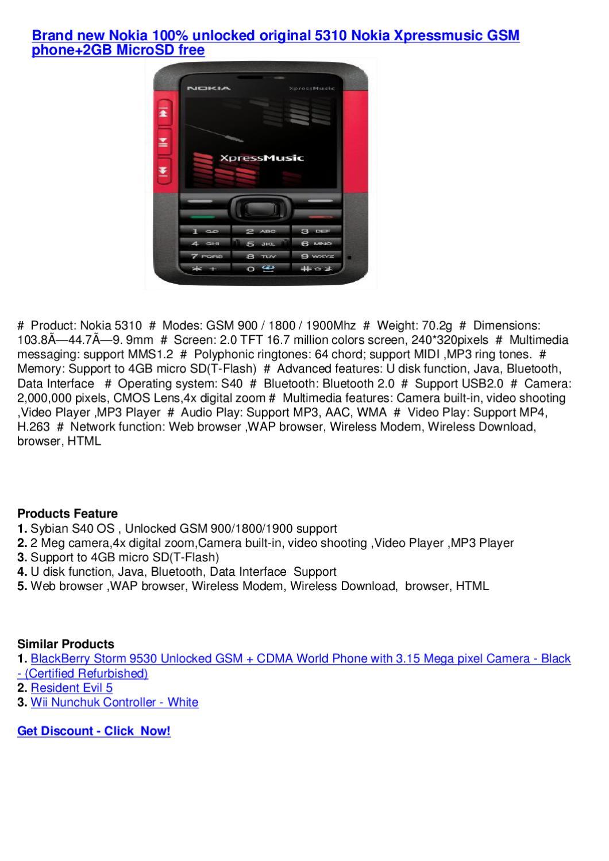 Brand new Nokia 100% unlocked original 5310 Nokia Xpressmusic GSM