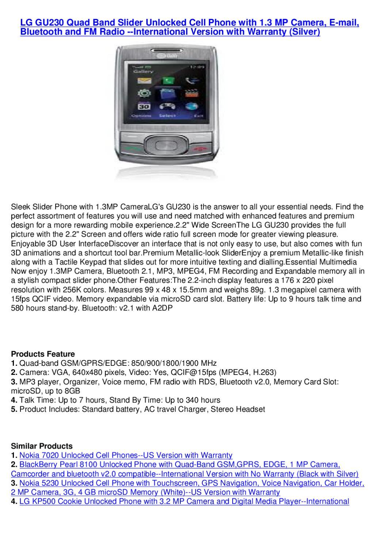 LG GU230 Quad Band Slider Unlocked Cell Phone with 1 3 MP