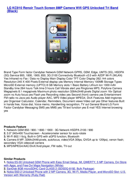 LG KC910 Renoir Touch Screen 8MP Camera Wifi GPS Unlocked