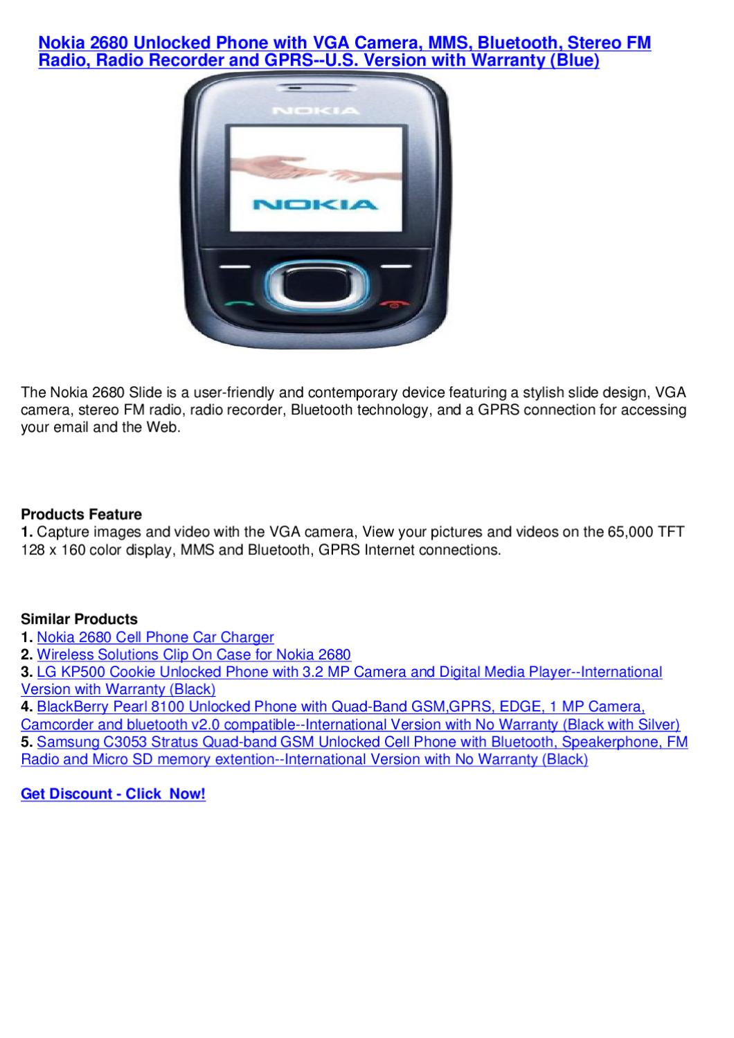 Nokia 2680 Unlocked Phone With Vga Camera Mms Bluetooth Stereo Fm Technology Radio Recorder And Gprs By Mixsel Seller Issuu
