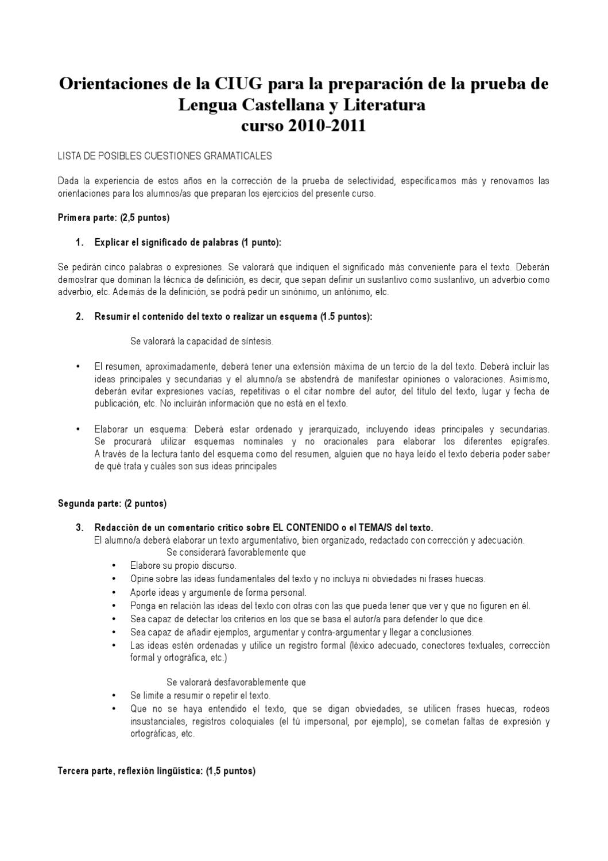 Orientaciones de la CIUG para Lengua Castellana y Literatura 2010 ...