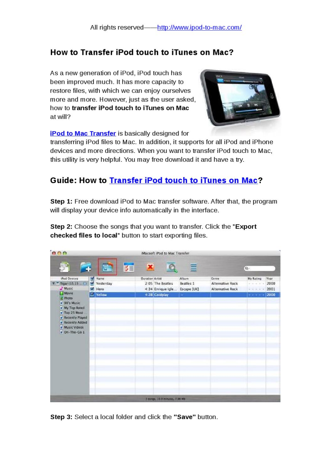How to Transfer iPod touch to iTunes on Mac by snow abcd - issuu