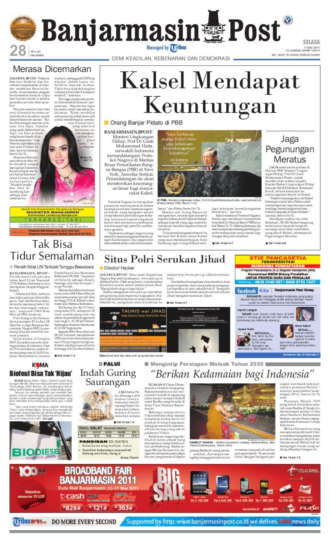 Banjarmasin Post Edisi Cetak Selasa 17 Mei 2011 By Produk Ukm Bumn Tas Ransel Threepoint Issuu