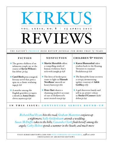 April 15 2011 Volume Lxxix No 8 By Kirkus Reviews Issuu
