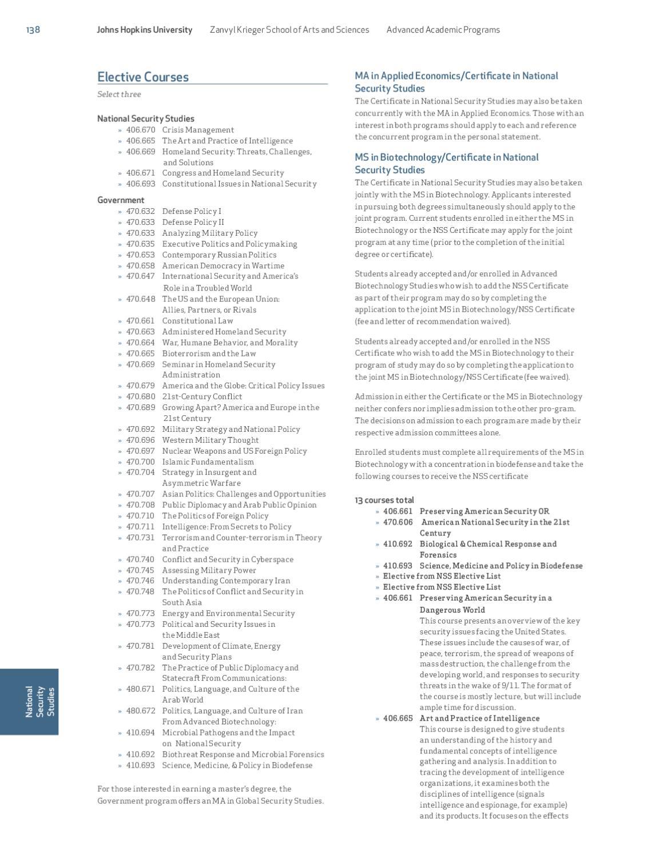Johns Hopkins University Advanced Academic Programs 2011 12 Course