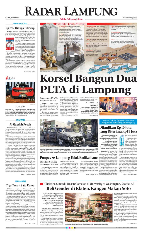 Radar Lampung Kamis 19 Mei 2011 By Ayep Kancee Issuu Strong Kangen Water Ph 115 Ukuran 1000 Ml Terapi Air Kelas Dunia Indonesia