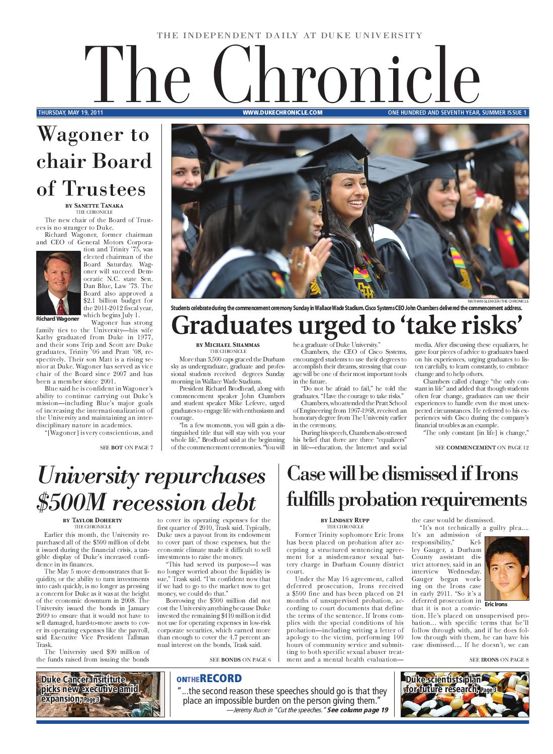 May 19, 2011 issue by Duke Chronicle - issuu