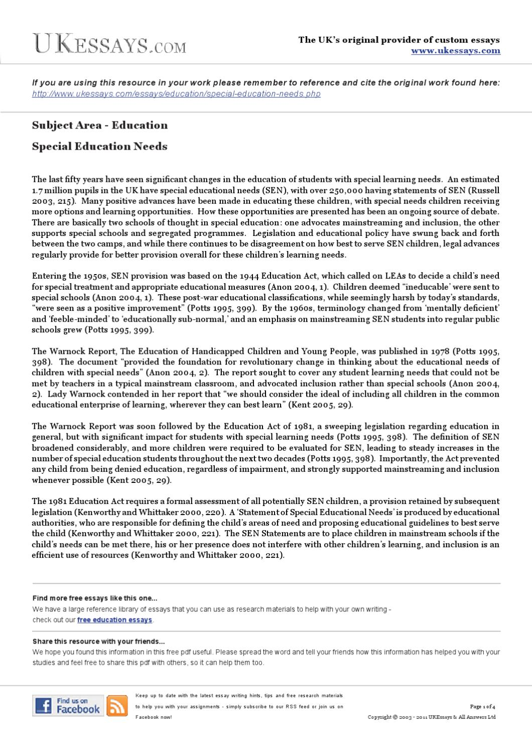 Education Essays  Special Education Needs By Academic Answers  Issuu