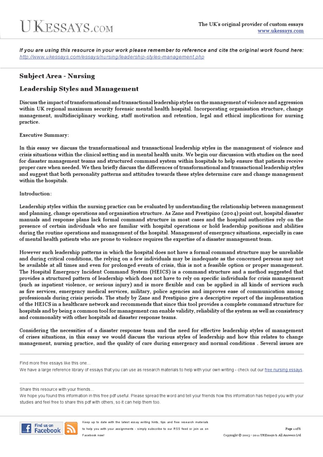 Custom research paper on management style