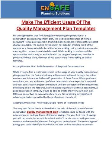 quality management plan templates