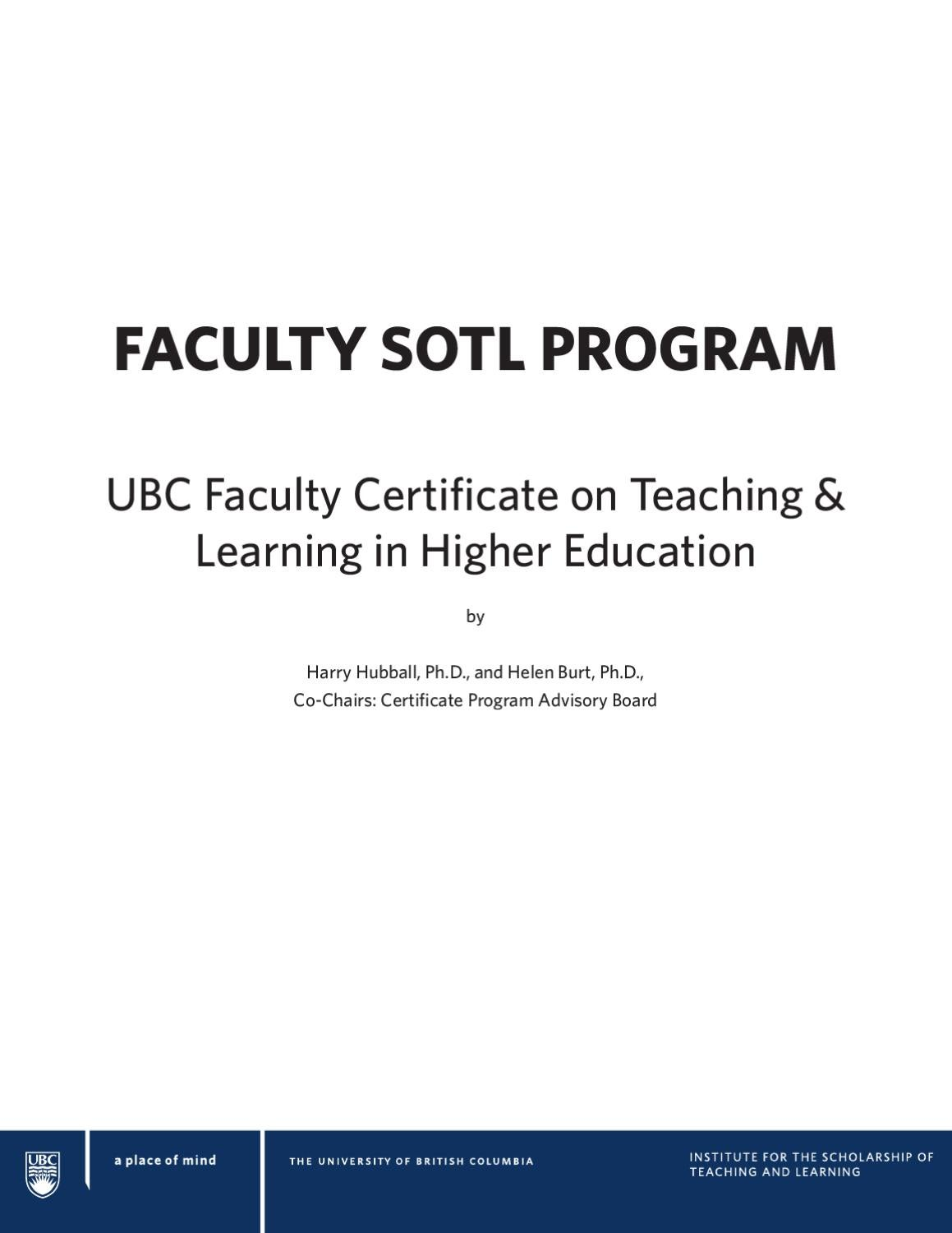 Ubc faculty certificate on teaching learning in higher education ubc faculty certificate on teaching learning in higher education by ubc ctlt issuu 1betcityfo Choice Image