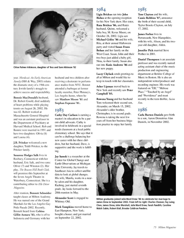 Milton Magazine, Winter 2003 by Milton Academy - issuu