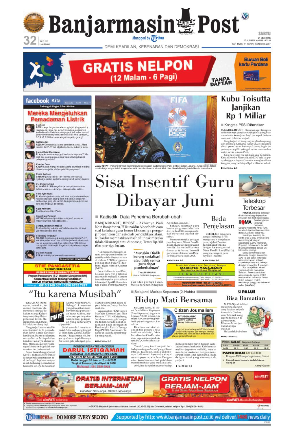 Banjarmasin Post Edisi Cetak Sabtu 21 Mei 2011 by Banjarmasin Post - issuu aa83ac96ed