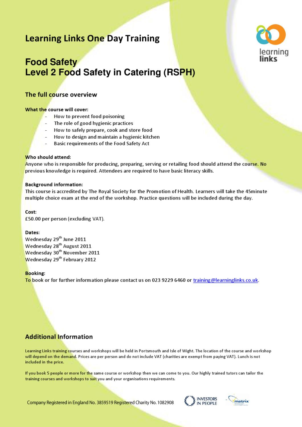food safety level 2 questions