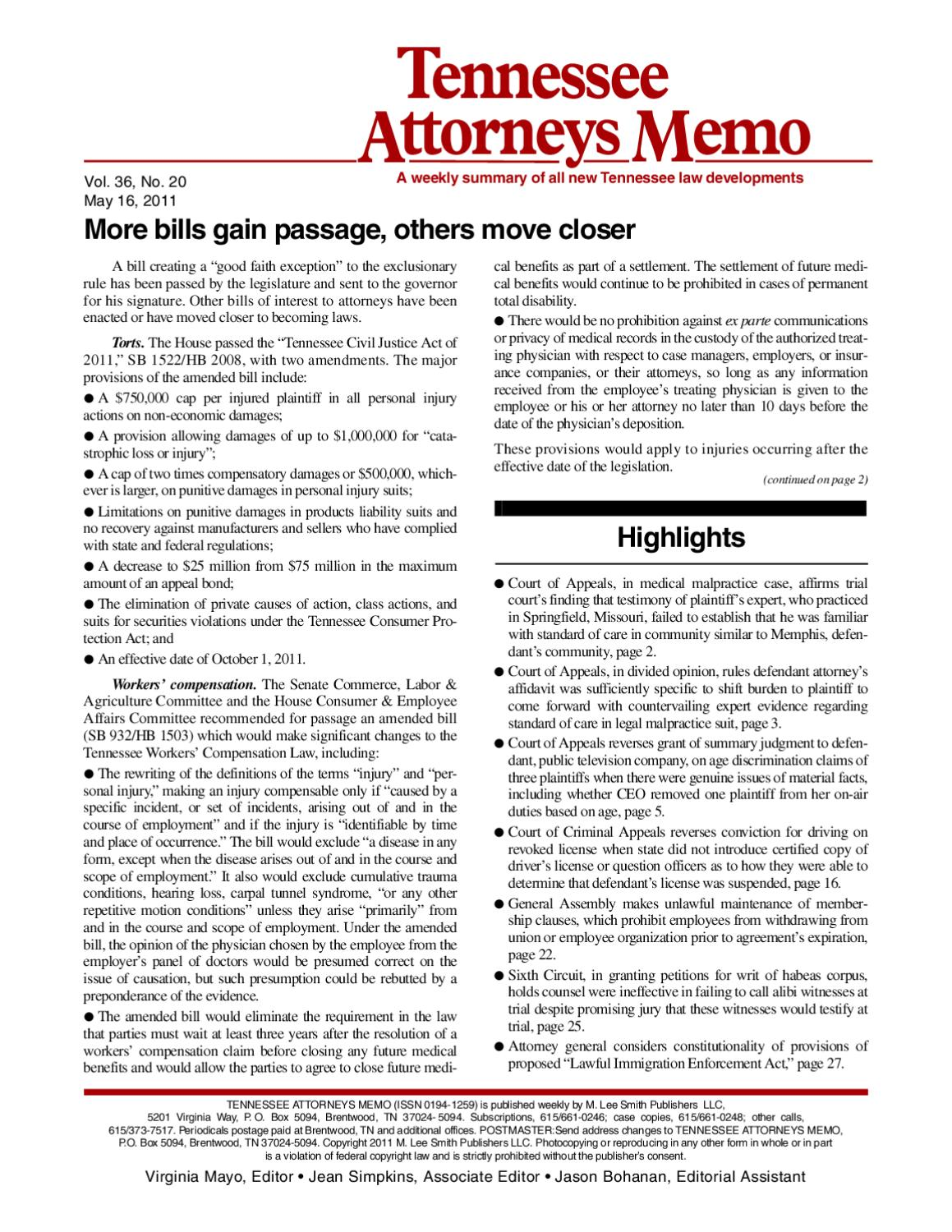 Tennessee Attorneys Memo By Simplify Compliance Issuu