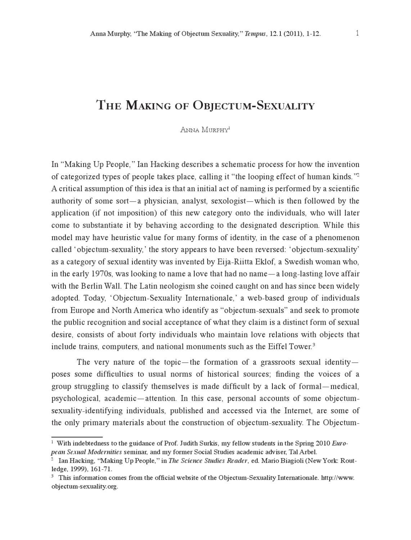 Objectum sexuality psychology