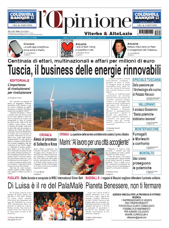L Opinione di Viterbo e Lazio nord - 22 maggio 2011 by Nuovo Viterbo Oggi -  issuu 1d857a23c39