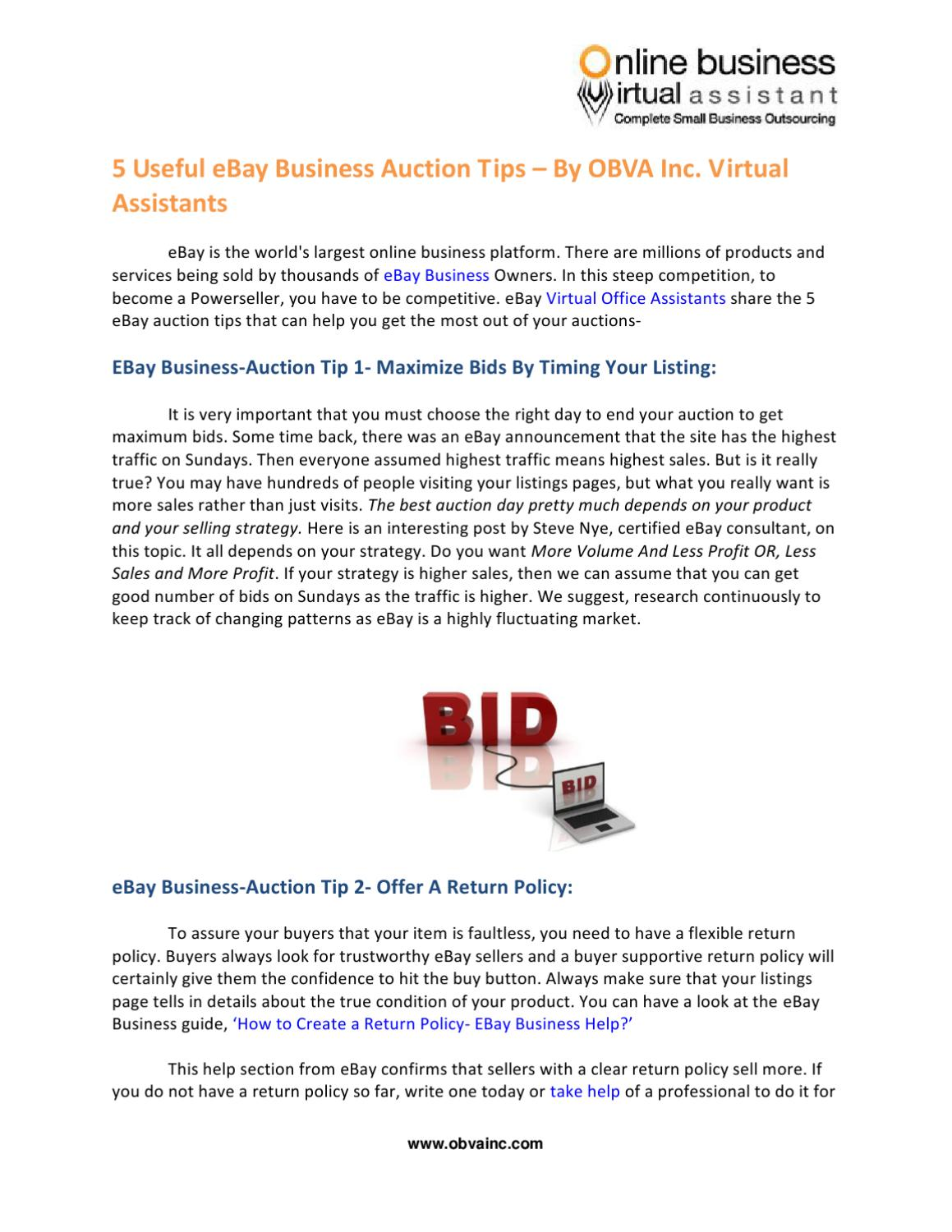 5 Useful Ebay Business Auction Tips By Obva Inc Virtualassistants By Obva Virtual Assistant Company Issuu