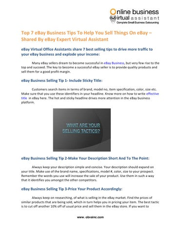 Top 7 Ebay Business Tips To Help You Sell Things On Ebay Shared By Ebay Expert Virtual Assistant By Obva Virtual Assistant Company Issuu