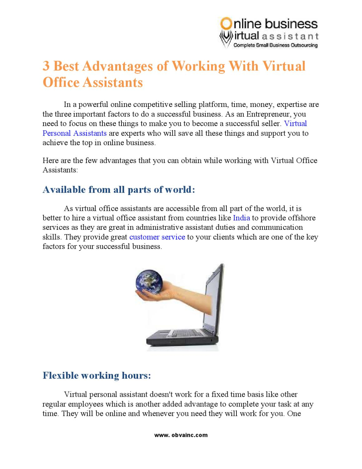 3 Best Advantages Of Working With Virtual Office Assistants By Obva