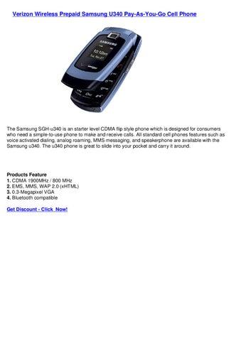 Verizon Wireless Prepaid Samsung U340 Pay-As-You-Go Cell