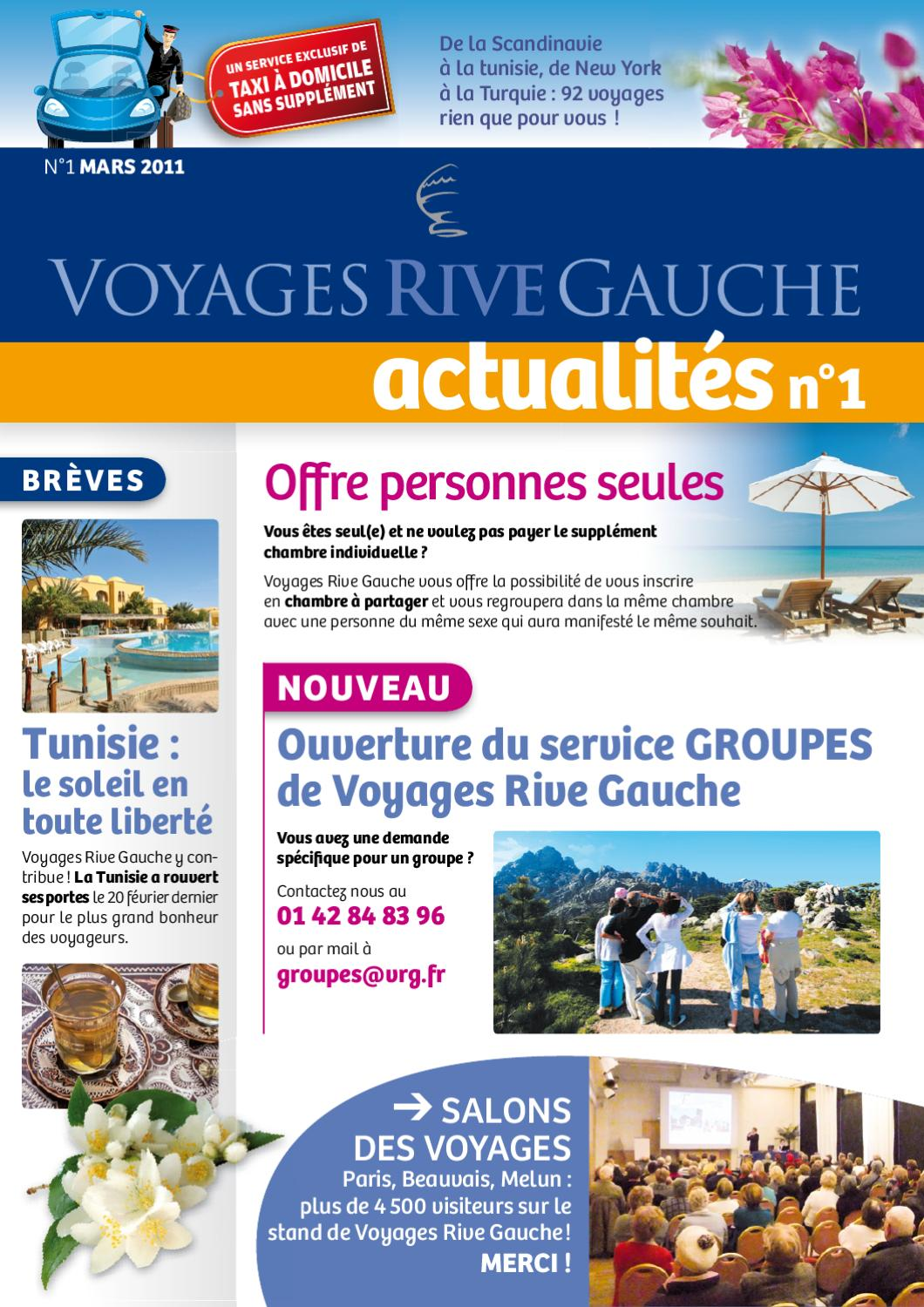 Actualit s n 1 by voyage rive gauche issuu - Voyage solo sans supplement chambre individuelle ...