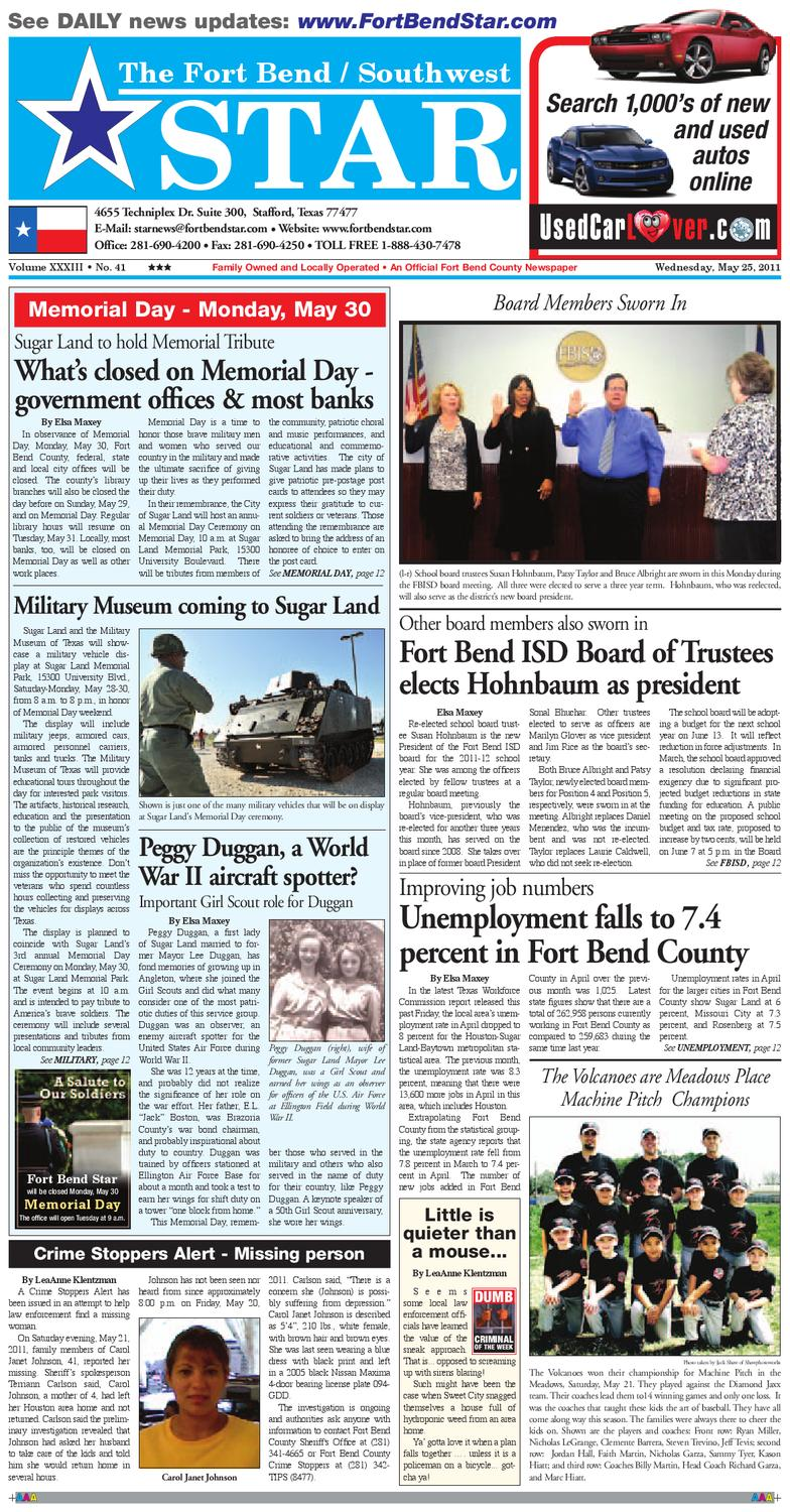 May 25, 2011 - Fort Bend Community Newspaper for Sugar Land