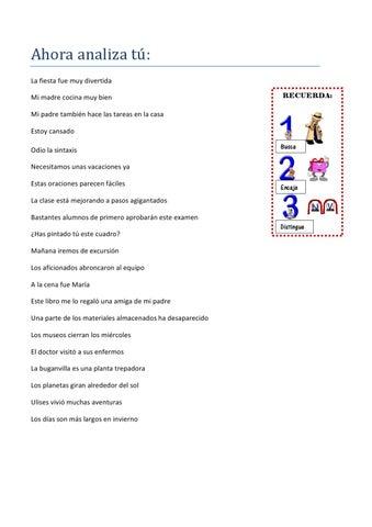 Oraciones Para Analizar By Maria Luisa Caride Vázquez Issuu