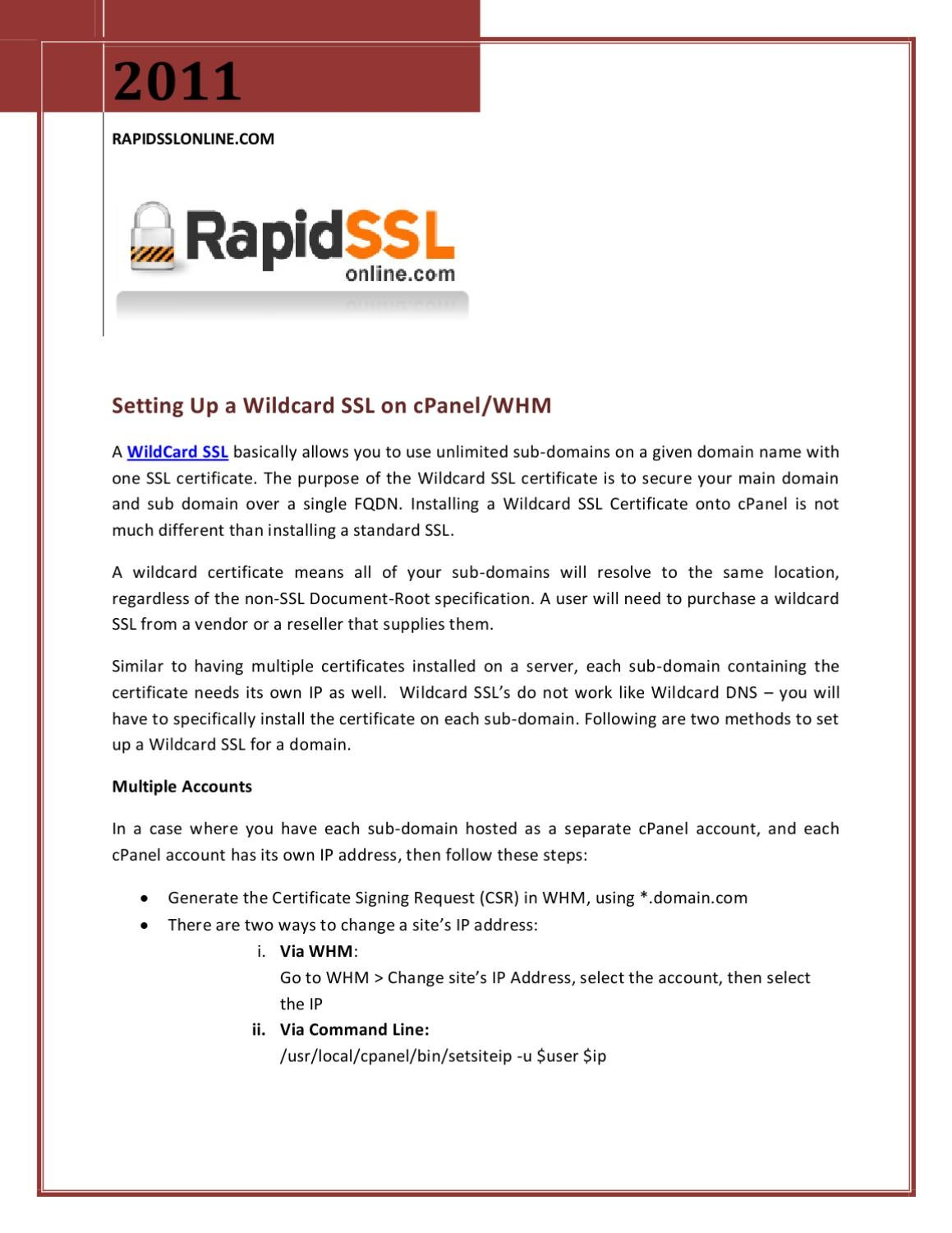 Setting up a wildcard ssl on cpanelwhm by rapidsslonline setting up a wildcard ssl on cpanelwhm by rapidsslonline sslcertificate issuu xflitez Choice Image