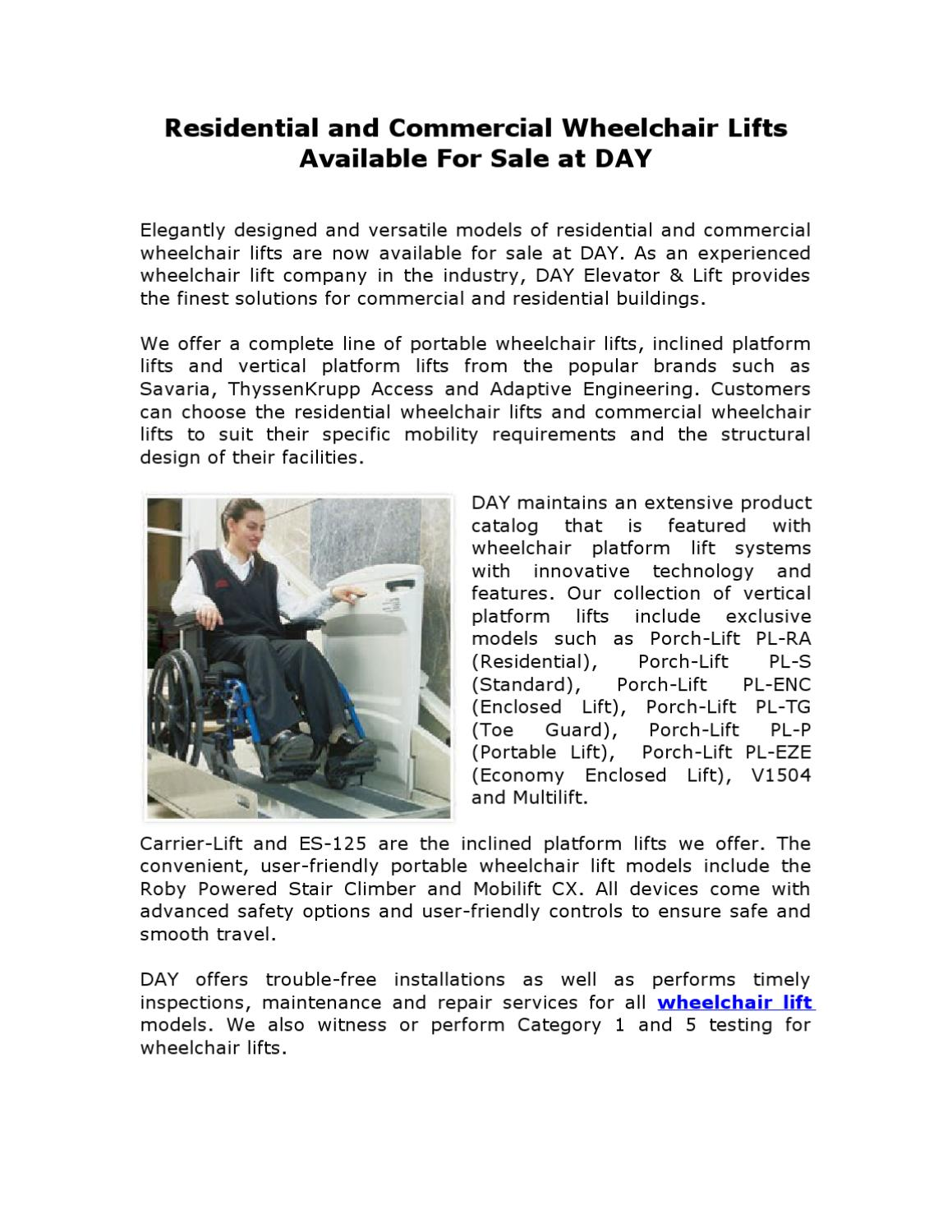 Residential and Commercial Wheelchair Lifts Available For