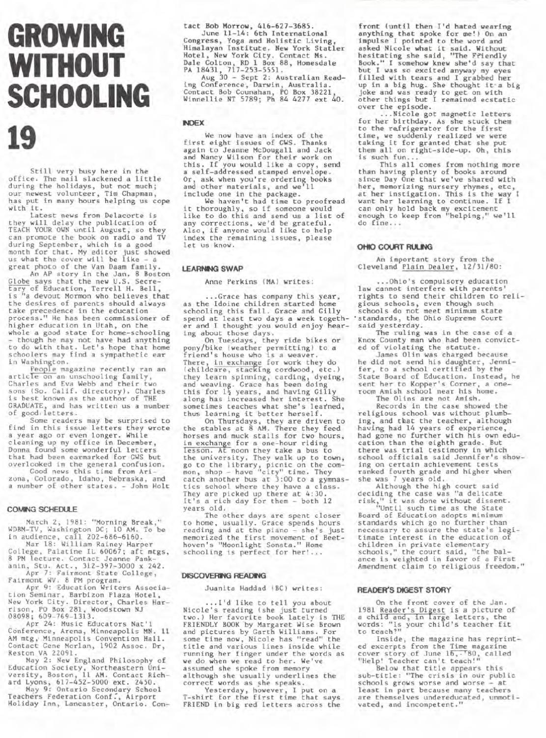 Growing Without Schooling by Patrick Farenga - issuu