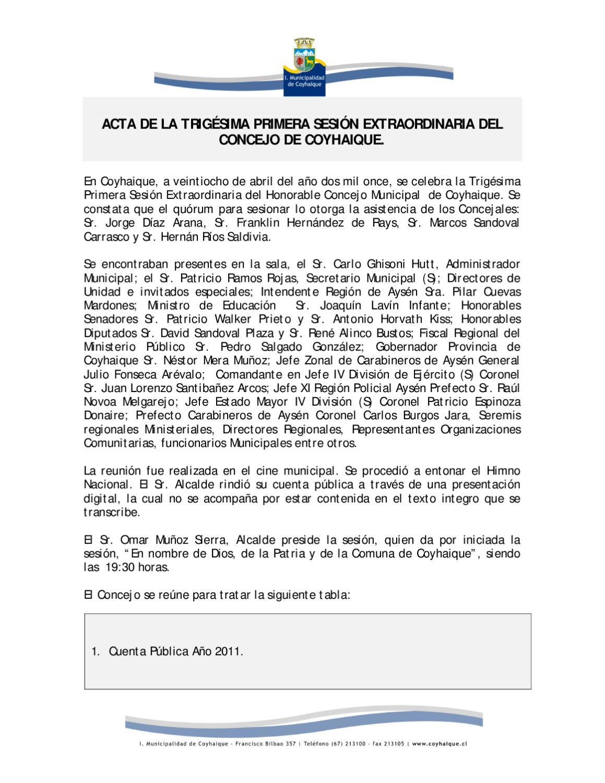 Acta sesion extraordinaria N° 31 Municipalidad de Coyhaique by ...
