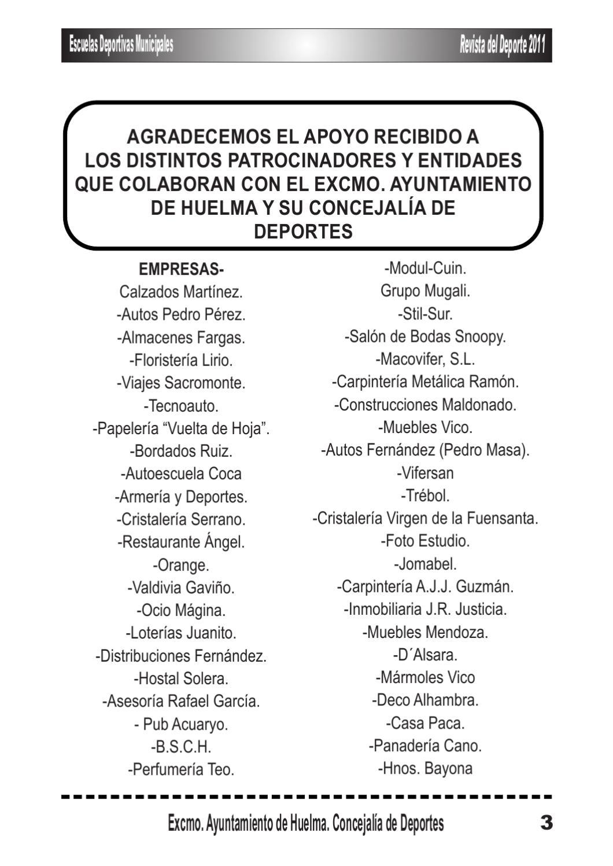 Revista Del Deporte 2011 Huelma By Centro De Informaci N Juvenil  # Muebles Grupo Teo
