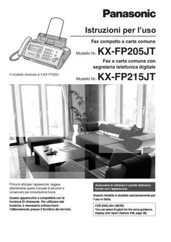 Fax panasonic kx-fp215 manuale d uso