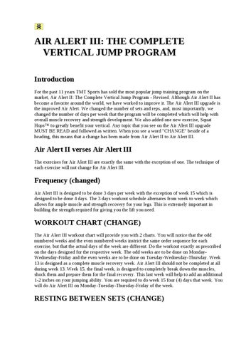 Air Alert Iii The Complete Vertical Jump Program Introduction For Past 11 Years Tmt Sports Has Sold Most Por Training On