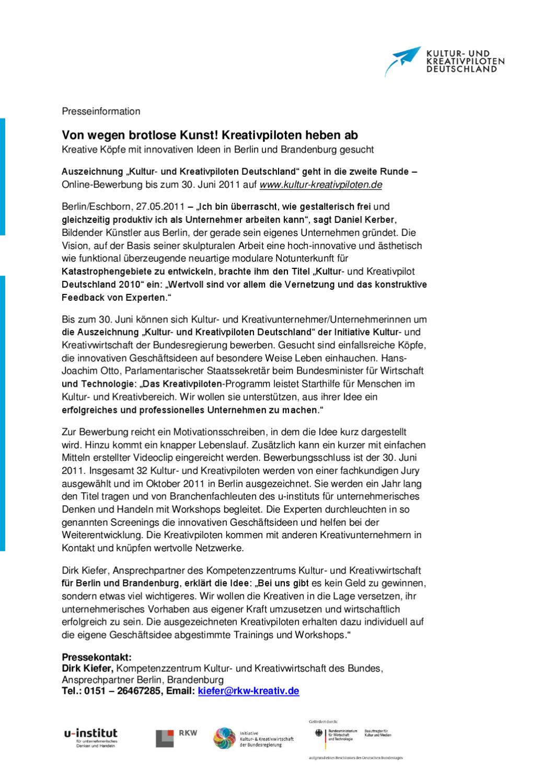 Pressemeldung Kultur- und Kreativpiloten Deutschland by Dirk Kiefer - issuu