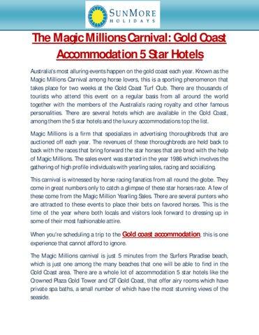 The Magic Millions Carnival Gold Coast Accommodation 5 Star Hotels