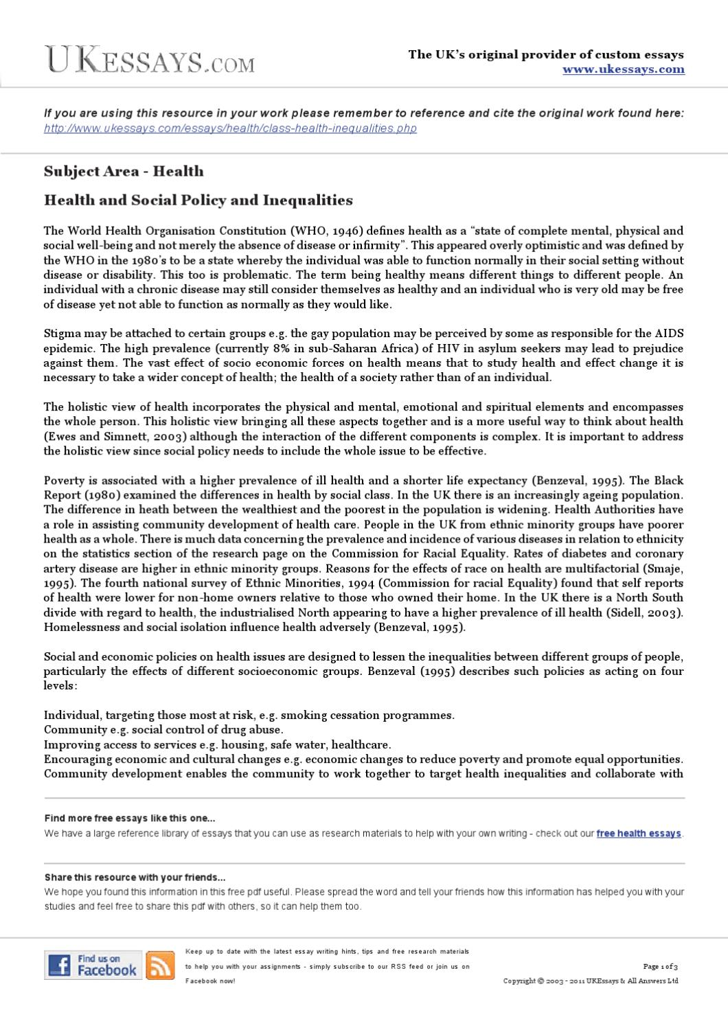 free essays about health care