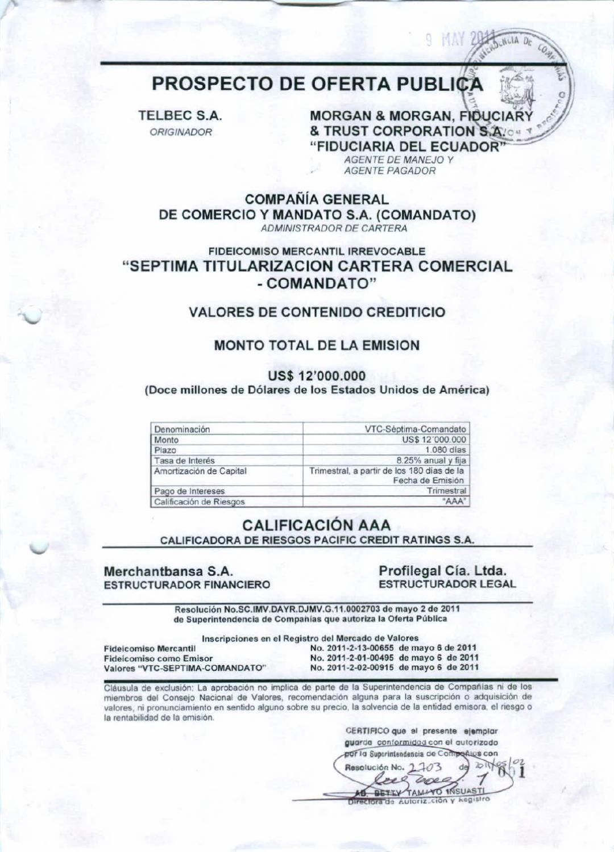 Prospecto Comandato by Bolsa de Valores de Quito - issuu