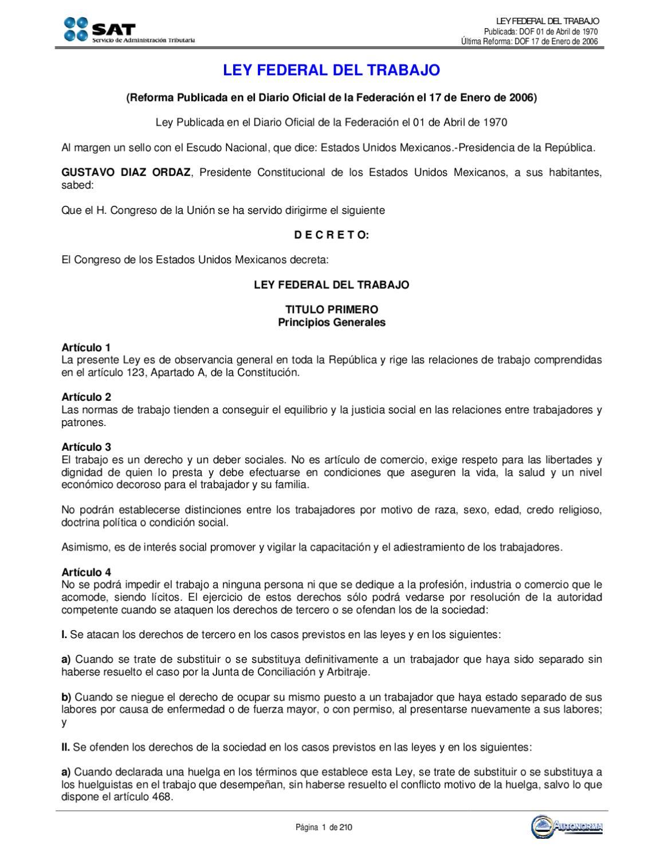 Ley Federal del Trabajo by Sindicato SAT Hacienda - issuu