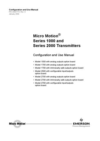 micro motion 2700 configuration and use manual supplement